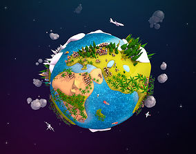 3D model Cartoon Lowpoly Earth Planet 2