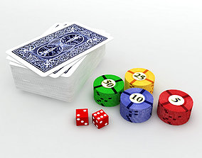 3D asset Casino Accessories Playing Cards Chips and Dice