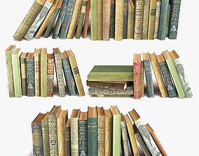 3D model old books on a shelf set 7
