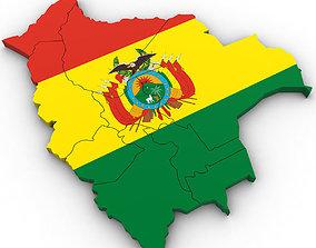 3d Political Map of Bolivia