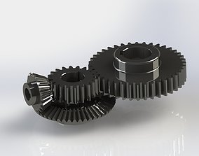 Meshing Gears - Gear Mechanism 3D model animated