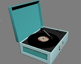 Vintage Turntable with Vinyl 3D model