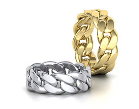 Cuban Link Chain Ring Stackble Ring 8mm 3D print model