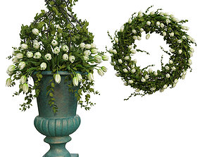 Vase with flowers and wreath 06 3D model
