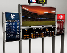 Baseball stadium scoreboard low poly 3D asset