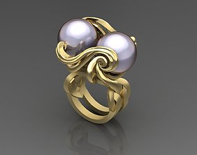 Ring with couple Pearl 3D print model