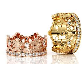 3D printable model Crown Ring Band R BA 0010