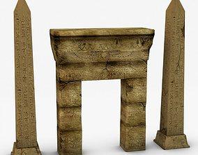 3D Egyptian obelisk and gate