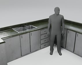 3D model Stained Kitchen Counter