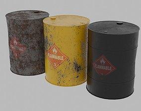 Used metal oil barrels 3D asset
