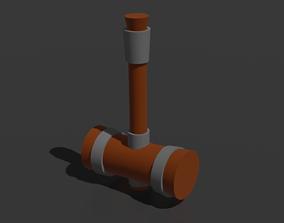 wooden 3D model VR / AR ready hammer