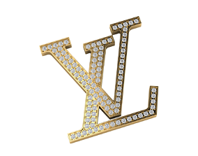 louis vuitton logo with diamond for pendant belt 3d