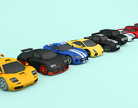 mobile Cartoon car pack Low-poly 3D model