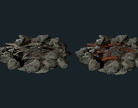 3D model Camp Fire Pit Pack 04 Game Ready