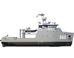 3D asset MILITARY MULTI-ROLE AUXILIARY VESSEL 660