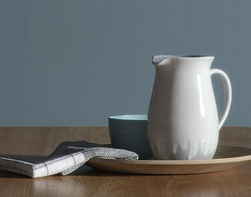 Glazed jug on a plate 3D