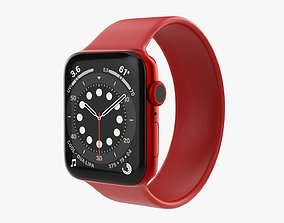 Apple Watch Series 6 silicone solo loop red 3D model