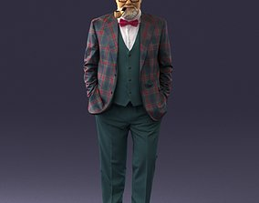 Stylish man with a smoking pipe 0172 3D Print Ready