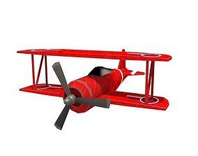 animated realtime Biplane game ready 3d model