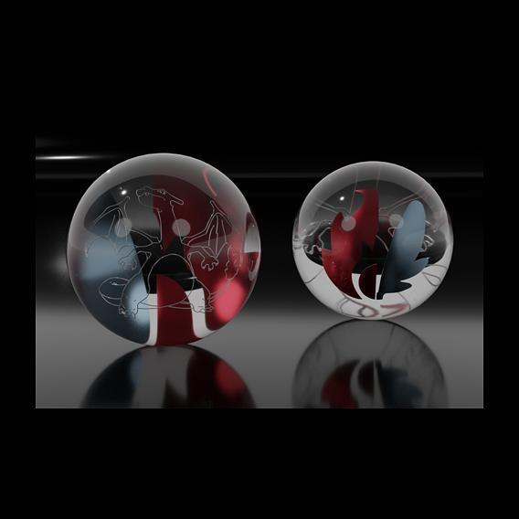 Charizard glass marble