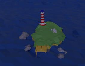 Cartoon island 3D asset