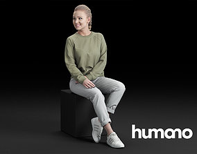 3D Humano Casual woman Sitting and talking 0218