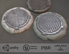 3D model Sewer Hatch Pack 1 LODs Three Texture Options