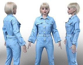 Belted Jeans Salopet 3D model