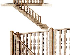 3D Wooden stair D012