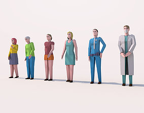 3D asset Cartoon Low Poly Female Characters Pack
