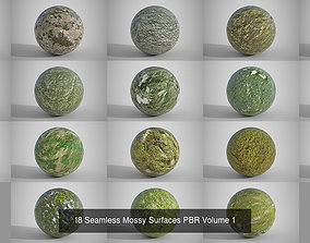 Mega Pack of 54 Seamless Mossy Surfaces PBR 3D model
