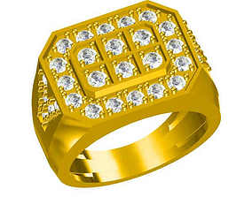 Mens gold engagement rings cad jewellery 3D print model 1