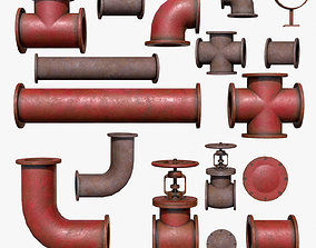 3D asset low-poly Industrial Pipes Low Poly