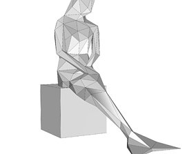 3D print model sitting mermaid