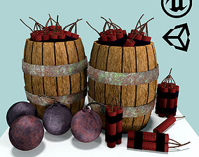Barrels with Dynamite and Cannonballs and 3D asset
