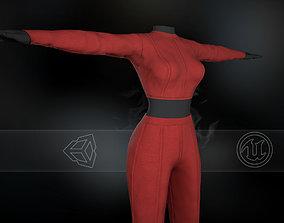 Red Women Outfit 3D asset