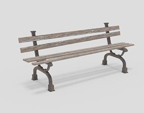 Destroyed bench 3D asset