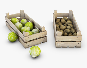 Wooden Crates with Vegetables 3D