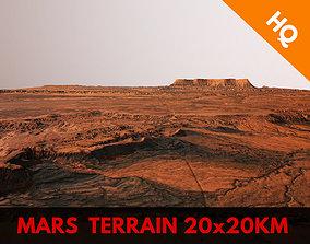 Mars Planet Landscape 20x20km Desert Terrain 3D model 1