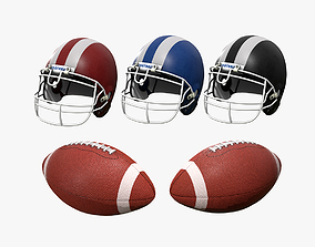 3D asset American Football and Helmet
