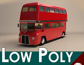 Low Poly Cartoon London Bus 3D asset low-poly