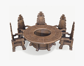 Round Table and Seats 3D asset