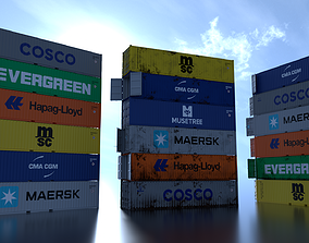 Shipping Container 40ft Rigged 3D asset