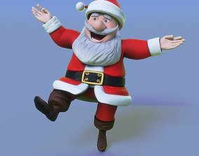 3D model rigged santa claus cartoon