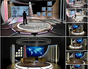 Virtual TV Studio Chat Sets Collection 8 3D