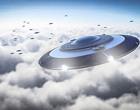 animated space UFO 3D Model