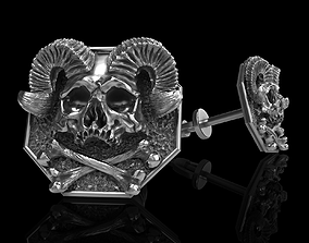 3D printable model skull earrings studs ststue