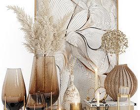 Decorative set 03 3D model vase pampas