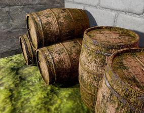 old barrel 3D asset game-ready dirt