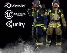 Firefighter 3D model rigged game-ready